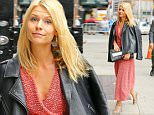 Claire Danes wears a Victoria Beckham red dress under a leather jacket while arrives at the The Late Show with Stephen Colbert in New York City\n\nPictured: Claire Danes\nRef: SPL1141308  011015  \nPicture by: Felipe Ramales / Splash News\n\nSplash News and Pictures\nLos Angeles: 310-821-2666\nNew York: 212-619-2666\nLondon: 870-934-2666\nphotodesk@splashnews.com\n