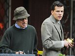 New York, NY - Jesse Eisenberg holds urn closely on set of untitled Woody Allen Project. Actor looked handsome in a suit while lost in thought. Perhaps a scene about death? AKM-GSI         October 01, 2015 To License These Photos, Please Contact : Steve Ginsburg (310) 505-8447 (323) 423-9397 steve@akmgsi.com sales@akmgsi.com or Maria Buda (917) 242-1505 mbuda@akmgsi.com ginsburgspalyinc@gmail.com