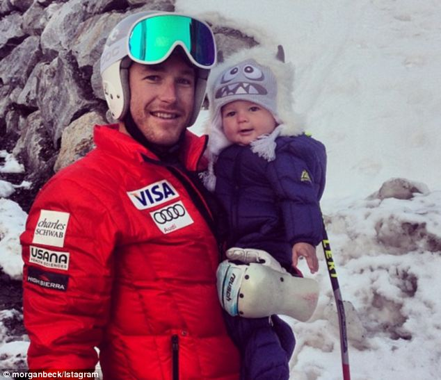 Family: Milled, 36, was granted temporary custody of his one-year-old son Nate, pictured last year, meaning that the baby boy could go with him to Sochi. But Nate has not joined his father in Russia