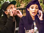 UK CLIENTS MUST CREDIT: AKM-GSI ONLY\nEXCLUSIVE: *SHOT ON 9/27/15* **WEB EMBARGO UNTIL 01:30 PM PST 10/01/15** Calabasas, CA - 'KUWTK', Kendall Jenner, and her boyfriend Tyga appeared to be uninterested in each other as they dined together at Rosti Cafe.  While Kylie seemed to be more interested in her phone, Tyga looked to be bored and was seen looking at the ceiling and rubbing his head as he patiently waited for Kylie to pay him any attention. He was seen chowing down on his pasta while Kylie barely touched hers and seemed preoccupied on a phone conversation.  The couple were so glued to their iPhones that they barely noticed each other.  Nonetheless, Tyga was still the gentleman, reaching for his wallet when it was time to pay the bill.\n\nPictured: Kourtney Kardashian\nRef: SPL1140844  300915   EXCLUSIVE\nPicture by: AKM-GSI / Splash News\n\n