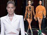 Mandatory Credit: Photo by David Fisher/WWD/REX Shutterstock (5206487ab)  Jourdan Dunn on the catwalk  Balmain show, Spring Summer 2016, Paris Fashion Week, France - 01 Oct 2015