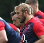 BAGSHOT, ENGLAND - OCTOBER 01:  Chris Robshaw, the England captain leads the line during the England training session at Pennyhill Park on October 1, 2015 in Bagshot, England.  (Photo by David Rogers/Getty Images)
