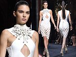 Mandatory Credit: Photo by David Fisher/WWD/REX Shutterstock (5206487h)\n Kendall Jenner on the catwalk\n Balmain show, Spring Summer 2016, Paris Fashion Week, France - 01 Oct 2015\n \n