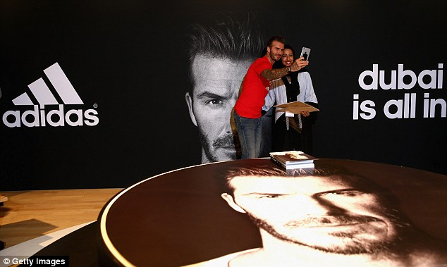 Beckham, who signed a $160m lifetime contract with adidas in 2003, snapped a host of selfies with supporters