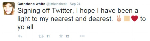 White left this message on her Twitter account on September 24 - the same day she broke up with Carrey. It was posted just before 5pm Pacific Time. The party Carrey attended that night was from 7pm to 10pm