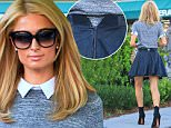 Paris Hilton tried on new frames in Beverly Hills.  The heiress wore a black leather skirt with a collared top, stopping by Lemonade in Beverly Hills, on Friday, October 2, 2015 X17online.com