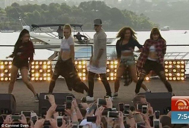 Wowing fans: Justin's Sydney gig was hosted on an Island, and was an opportunity for dedicated fans to see the performer live