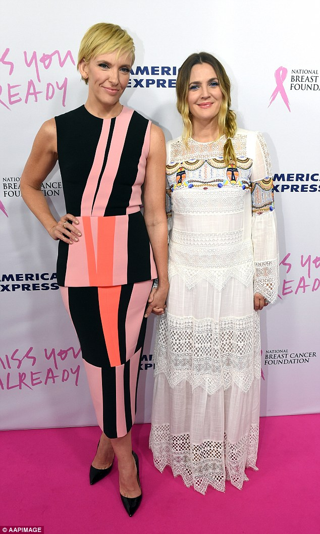 Becoming inseparable: Australian star Toni Collette and Hollywood royalty Drew Barrymore, pictured at the Australian premiere of their new movie Miss You Already, have formed a close bond