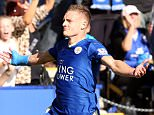 LEICESTER, ENGLAND - SEPTEMBER 26:  Jamie Vardy of Leicester City celebrates after scoring  to make it 1-0 during the Barclays Premier League match between Leicester City and Arsenal at the King Power Stadium on September 26th , 2015 in Leicester, United Kingdom.  (Photo by Plumb Images/Leicester City FC via Getty Images)