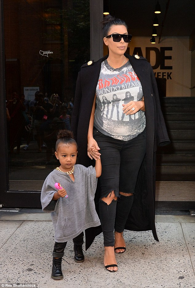 Apple of her eye: Kim revealed she won't be calling her son South, because her daughter North is named after the highest point and that wouldn't be fair to him