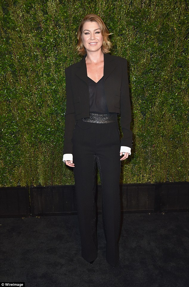 Androgynous: Ellen Pompeo switched up her look in trousers and cropped jacket