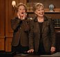 """SATURDAY NIGHT LIVE -- """"Ellen Page"""" Episode 1525 -- Airdate 3/1/2008 -- Pictured: (l-r) Amy Poehler, Senator Hillary Clinton -- """"i'm going to need those earrings back"""" -- Senator Hillary Clinton delivers an """"editorial response' to SNL's parody of this week's Democratic debate with Amy Poehler who plays Clinton on the show  (Photo by Dana Edelson/NBC/NBCU Photo Bank via Getty Images)"""