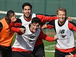 LIVERPOOL, ENGLAND - OCTOBER 02:  (THE SUN OUT, THE SUN ON SUNDAY OUT) Mamadou Sakho, Emre Can, Joao Teixeira, Lucas Leiva, Adam Bogdan, Divock Origi and Philippe Coutinho of Liverpool pose for a photograph during a training session at Melwood Training Ground on October 2, 2015 in Liverpool, England.  (Photo by Andrew Powell/Liverpool FC via Getty Images)