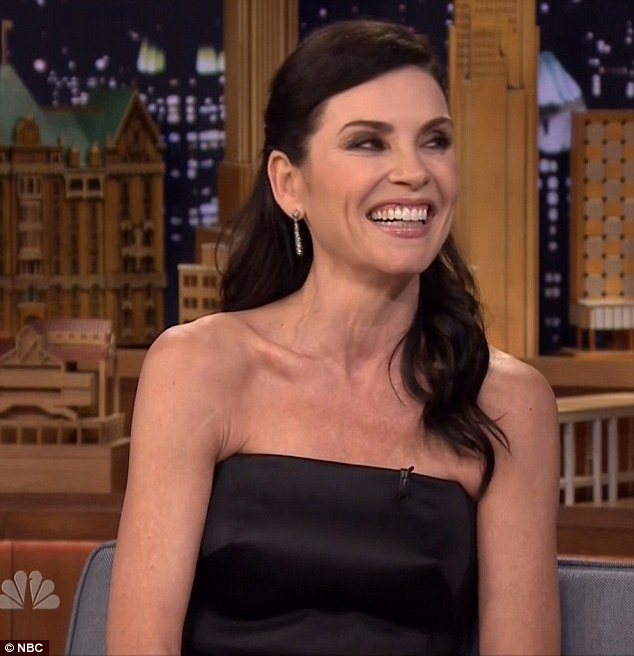 Television star: Julianna Margulies appeared on Tonight woith Jimmy Fallon Wednesday and revealed the unusual hair product she used for a French photo shoot