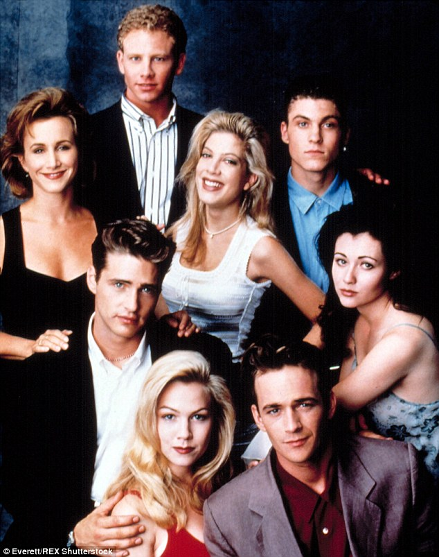 Hit show: Tori is shown with the cast of Beverly Hills, 90210 in a 1993 promotional still