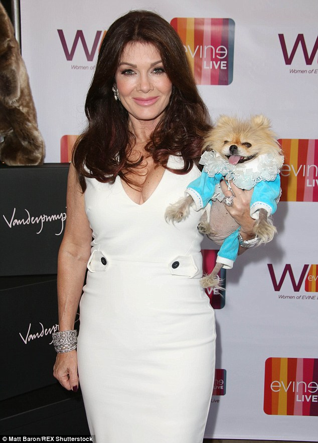 Bit of all white: Lisa Vanderpump put in a glamorous appearance at the Women of Evine Live Celebration at Villa Blanca in Beverly Hills on Tuesday