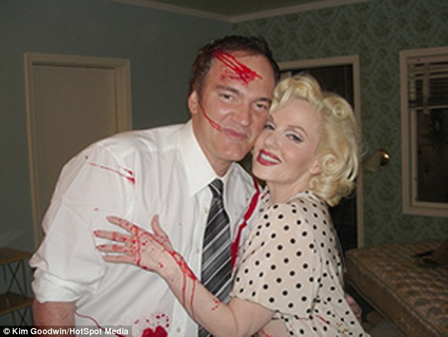 Starstruck: While acting in the 1994 film Pulp Fiction, directed by Quentin Tarantino (left), John Travolta reportedly commented repeatedly on how much Susan looked like Marilyn