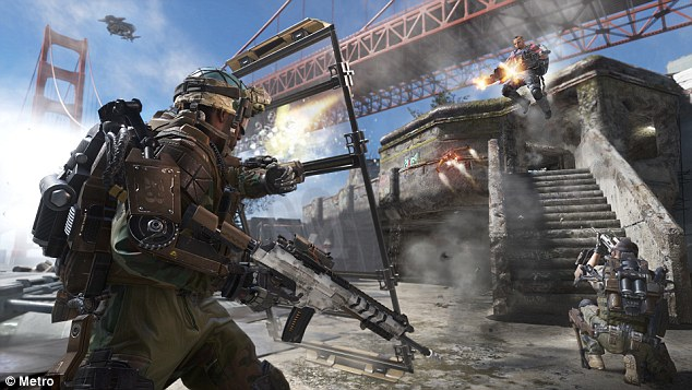 Not so dangerous after all? A review of almost a decade of studies has found that exposure to shoot-em-ups can boost brain function. Pictured, a scene from Call of Duty Advanced Warfare