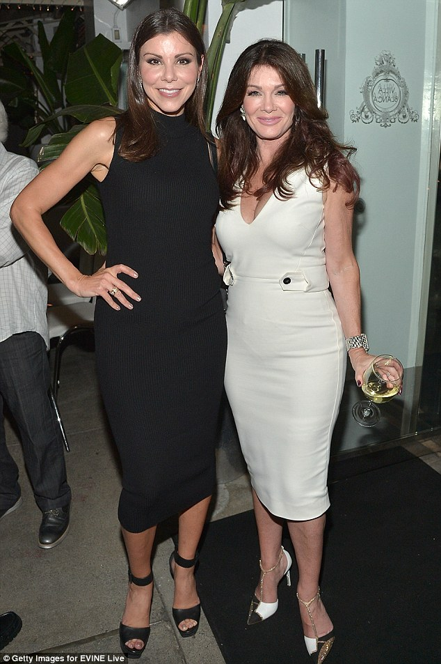 Rocking the LBD: Lisa, 55, posed alongside RHOC star Heather Dubrow who has also featured her own line of cosmetics on the shopping network