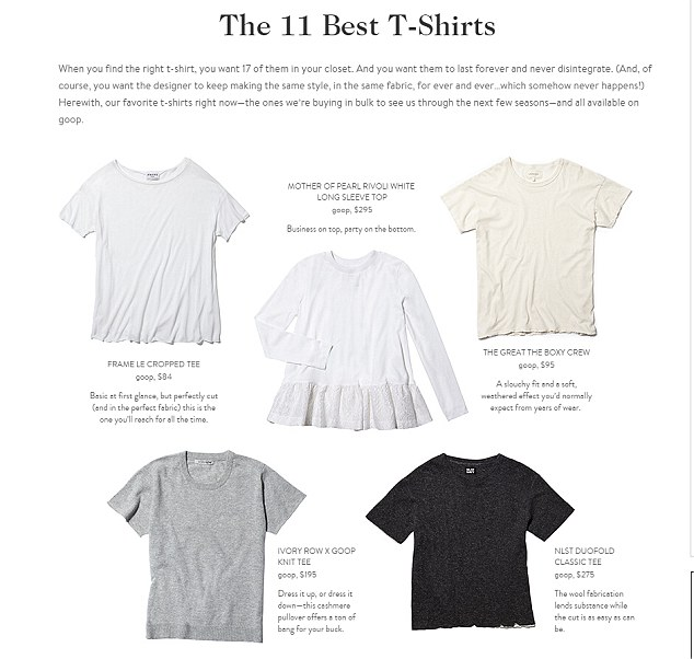 The text on the actress's website states: 'When you find the right T-shirt, you want 17 of them in your closet.It goes on to advise shoppers to stockpile their favourites