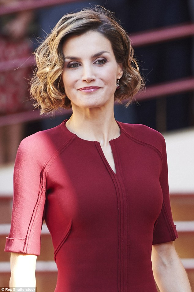 Queen Letizia was at the Javier Garcia Tellez secondary School in Caceres attending the opening of their vocational training course