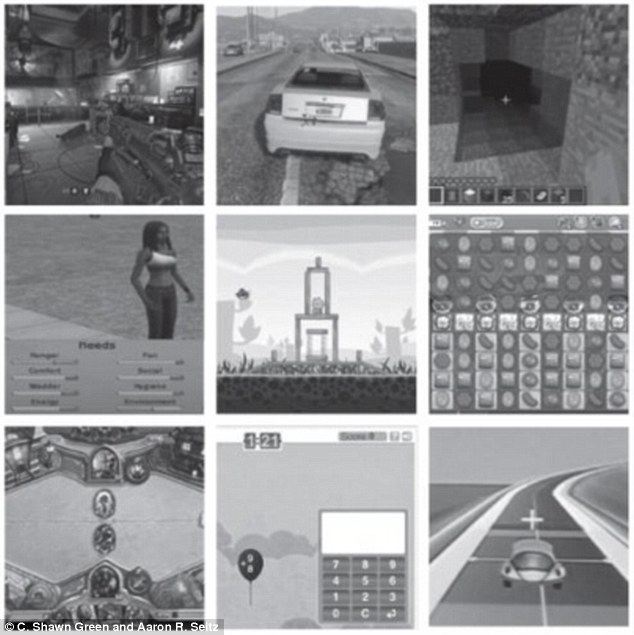 The term video games refers to thousands of quite disparate types of experiences, anything from simple computerized card games to richly detailed and realistic fantasy worlds, from a purely solitary activity to an activity including hundreds of others,' the researchers wrote (various games reviewed pictured in study)