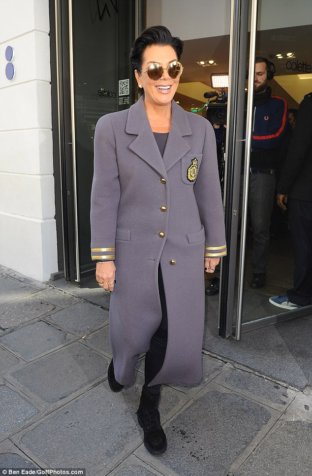 Military marvel: Kris Jenner stepped out in an unusual jacket when she hit the shops in Paris on Thursday