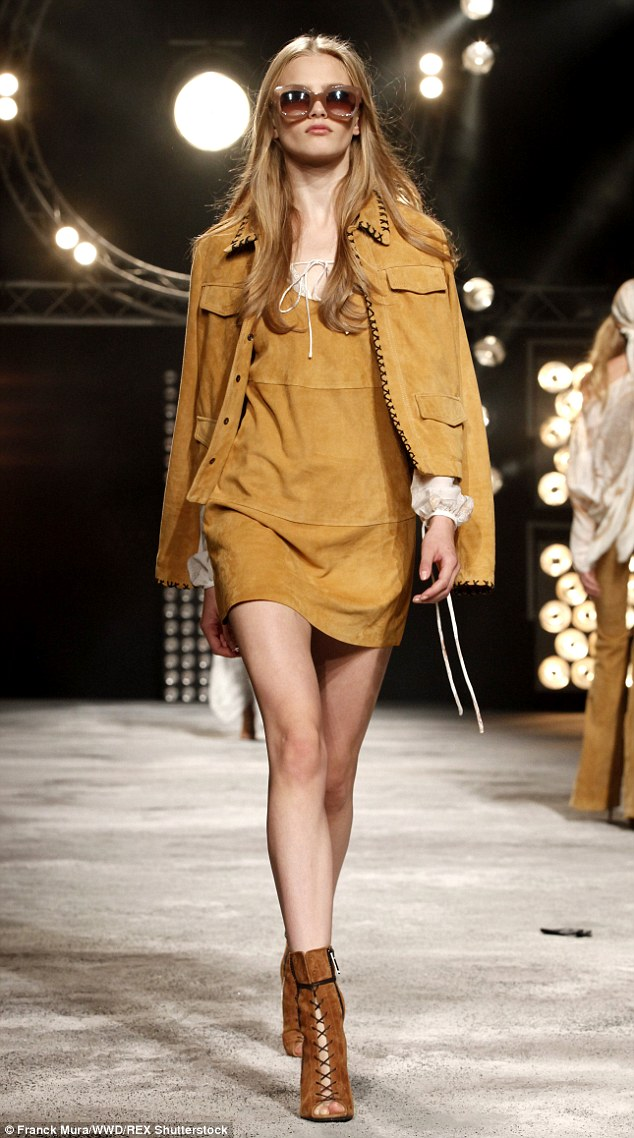 Bohemian vibe: Many of the suede-heavy looks sent down the runway were straight out of the 70s