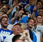 WEST BROMWICH, ENGLAND - AUGUST 23: Chelsea fans cheer during the Barclays Premier League match between West Bromwich Albion and Chelsea at The Hawthorns on August 23, 2015 in West Bromwich, England.  (Photo by Julian Finney/Getty Images)