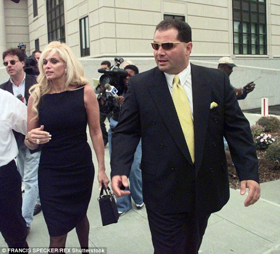 Reports claim the groom's now-divorced parents, mafia princess Victoria Gotti and 'made man' Carmine Agnello (pictured together after a bail hearing in 1998), had an explosive fight over her date at the event