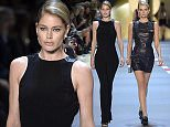Mandatory Credit: Photo by Giovanni Giannoni/WWD/REX Shutterstock (5207705aq)  Lily Donaldson on the catwalk  Mugler show, Spring Summer 2016, Paris Fashion Week, France - 03 Oct 2015