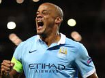 MANCHESTER, ENGLAND - SEPTEMBER 15:  Vincent Kompany of Manchester City celebrates after Giorgio Chiellini of Juventus scored an own goal to make it 1-0 during the  UEFA Champions League Group D match between Manchester City FC and Juventus at the Etihad Stadium on September 15, 2015 in Manchester, United Kingdom.  (Photo by Matthew Ashton - AMA/Getty Images)