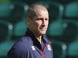England's head coach Stuart Lancaster supervises a training session at Twickenham stadium, London, Friday, Oct. 2, 2015. England will play Australia during their Rugby World Cup match on Saturday, Oct. 3. (AP Photo/Christophe Ena)