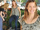 Please contact X17 before any use of these exclusive photos - x17@x17agency.com   PREMIUM EXCLUSIVE - Jennifer Garner was spotted with a friend in Brentwood.  The actress looked incredible, without makeup, chatting and smiling, despite her ongoing divorce from Ben Affleck, on Friday, October 2, 2015 X17online.com