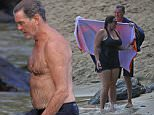 EXCLUSIVE: *PREMIUM EXCLUSIVE RATES APPLY*A shirtless Pierce Brosnan and wife Keely Shaye Smith take a morning swim in the ocean together while in Hawaii.   Pictured: Pierce Brosnan, Keely Shaye Smith Ref: SPL1121441  240915   EXCLUSIVE Picture by: Splash News  Splash News and Pictures Los Angeles: 310-821-2666 New York: 212-619-2666 London: 870-934-2666 photodesk@splashnews.com
