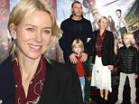 """NEW YORK, NY - OCTOBER 04:  Liev Schreiber, Naomi Watts and children Samuel Schreiber and Alexander Schreiber attend the """"Pan"""" New York Premiere - Outside Arrivals at Ziegfeld Theater on October 4, 2015 in New York City.  (Photo by Laura Cavanaugh/Getty Images)"""