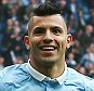 Sergio Aguero of Manchester City celebrates scoring his goal to make it 6-1 during the Barclays Premier League match between Manchester City and Newcastle United played at the Etihad Stadium, Manchester