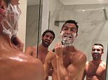 Cristiano Ronaldo shaving with friends