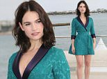 """CANNES, FRANCE - OCTOBER 05:  Lily James attends """"Harvey Weinstein"""" photocall on La Croisette on October 5, 2015 in Cannes, France.  (Photo by Tony Barson/WireImage)"""