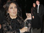 Picture Shows: Salma Hayek  October 05, 2015\n \n Stars arrive at the Saint Laurent fashion show during Paris Fashion Week in Paris, France.\n \n Non Exclusive\n WORLDWIDE RIGHTS\n \n Pictures by : FameFlynet UK © 2015\n Tel : +44 (0)20 3551 5049\n Email : info@fameflynet.uk.com