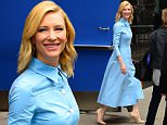 "NEW YORK, NY - OCTOBER 07:  Actress Cate Blanchett is seen outside ""Good Morning America"" on October 7, 2015 in New York City.  (Photo by Raymond Hall/GC Images)"