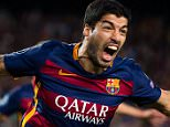 BARCELONA, SPAIN - SEPTEMBER 29:  Luis Suarez of FC Barcelona celebrates after scoring his team's second goal during the UEFA Champions League Group E match between FC Barcelona and Bayern 04 Leverkusen at Camp Nou on September 29, 2015 in Barcelona, Spain.  (Photo by Alex Caparros/Getty Images) *** BESTPIX ***