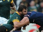 Rugby World Cup, South Africa v USA 07/10/15: Picture Kevin Quigley/solo syndication  Frans Malherbe in the Ruck, appears to bite from this angle