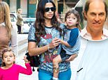 Camila Alves, wearing a Tom and Jerry t-shirt and blue Ray Bans, goes for a walk in Tribeca, New York City with her children Vida and Livingston.\n\nPictured: Camila Alves, Livingston McConaughey, Vida McConaughey\nRef: SPL1144578  071015  \nPicture by: Splash News\n\nSplash News and Pictures\nLos Angeles: 310-821-2666\nNew York: 212-619-2666\nLondon: 870-934-2666\nphotodesk@splashnews.com\n