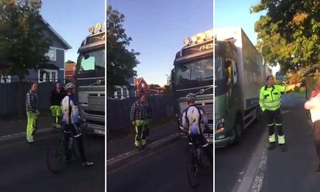 Swedish biker has ten-minute stand-off with a lorry driver after refusing to let him pass