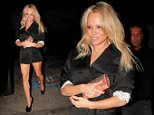 Actress Pamela Anderson sneaks out the back door of 'Craig's' restaurant in Los Angeles with two male friends. \n\nPictured: Pam Anderson\nRef: SPL1144660  081015  \nPicture by: Bello / SPW / Splash News\n\nSplash News and Pictures\nLos Angeles: 310-821-2666\nNew York: 212-619-2666\nLondon: 870-934-2666\nphotodesk@splashnews.com\n