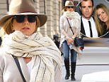 10/08/2015\nEXCLUSIVE: Jennifer Aniston and a friend take a walk in NYC on a beautiful fall day. Jennifer was wearing a dark fedora and blue jeans. Showing beautiful engagement ring while strolling unnoticed in lower Manhattan.\nsales@theimagedirect.com Please byline:TheImageDirect.com\n*EXCLUSIVE PLEASE EMAIL sales@theimagedirect.com FOR FEES BEFORE USE