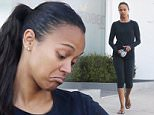 Picture Shows: Zoe Saldana  October 07, 2015\n \n Actress and busy mom Zoe Saldana is spotted leaving the gym in West Hollywood, California after enjoying a workout. Zoe was wearing an all black outfit with flip flops.\n \n Exclusive All Rounder\n UK RIGHTS ONLY\n FameFlynet UK © 2015\n Tel : +44 (0)20 3551 5049\n Email : info@fameflynet.uk.com