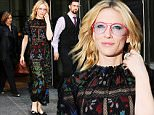 Mandatory Credit: Photo by Startraks Photo/REX Shutterstock (5225648b)\n Cate Blanchett\n Cate Blanchett out and about, New York, America - 08 Oct 2015\n Cate Blanchett spotted leaving the Crosby Hotel\n