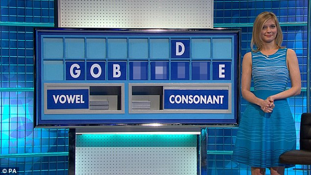 Oh dear: Rachel Riley did her best to keep a straight face as the word was uncovered